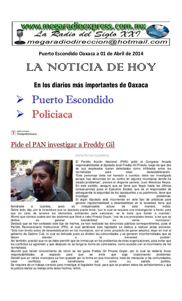 La noticia de hoy 01 de abril 2014