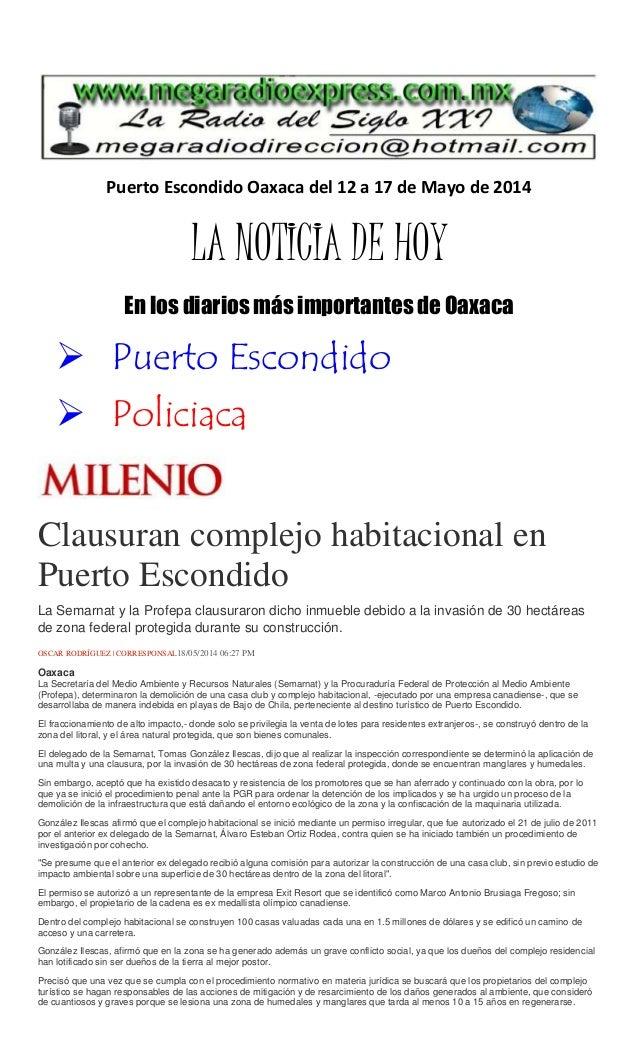 Puerto Escondido Oaxaca del 12 a 17 de Mayo de 2014 LA NOTICIA DE HOY En los diarios más importantes de Oaxaca  Puerto Es...