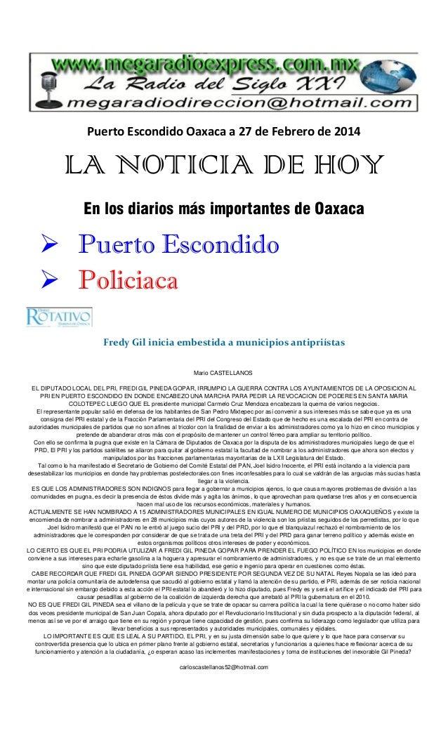 Puerto Escondido Oaxaca a 27 de Febrero de 2014  LA NOTICIA DE HOY En los diarios más importantes de Oaxaca   Puerto Esco...