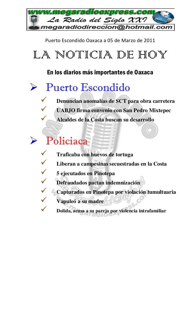 La Noticia de Hoy en Puerto Escondido 07 d marzo 2011