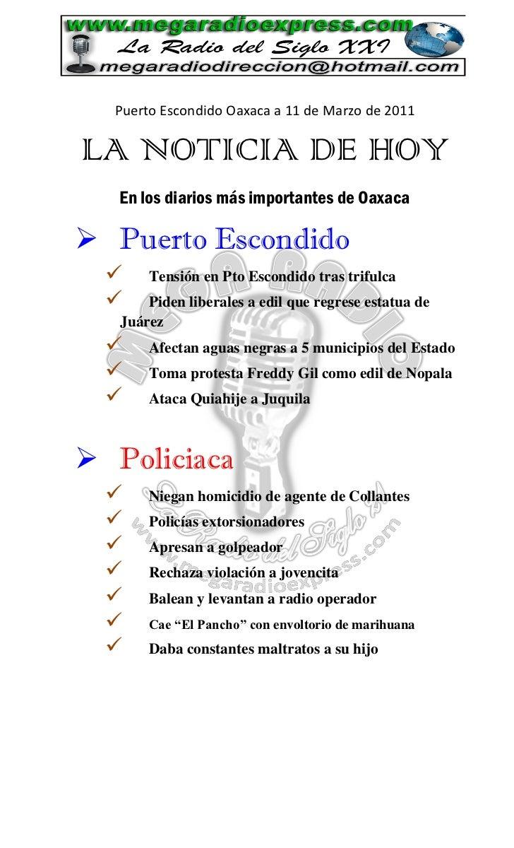 La Noticia de Hoy en Puerto Escondido 11 d marzo 2011