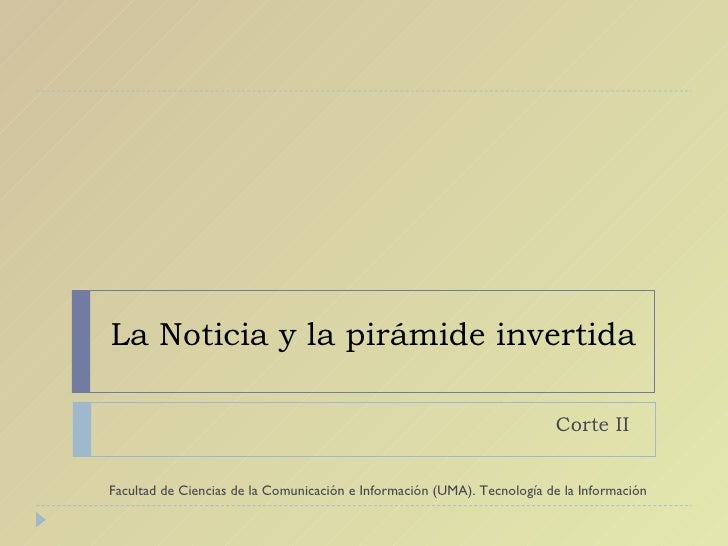 La noticia y la pirámide invertida