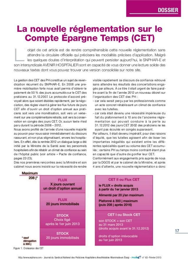DOSSIER  17  La nouvelle réglementation sur le  Compte Épargne Temps (CET)  L' objet de cet article est de rendre compréhe...
