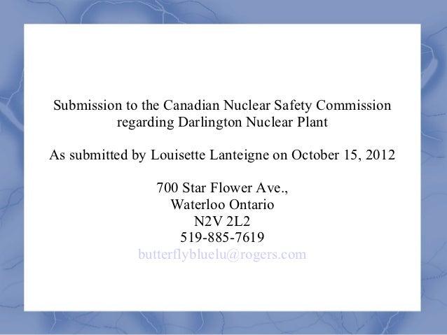 Lanteigne on Darlington Nuclear Plant