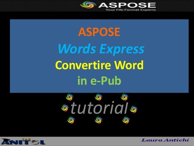 ASPOSEWords ExpressConvertire Word   in e-Pub  tutorial