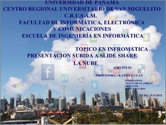 UNIVERSIDAD DE PANAMÁCENTRO REGIONAL UNIVERSITARIO DE SAN MIGUELITO                  C.R.U.S.A.M.    FACULTAD DE INFORMÁTI...