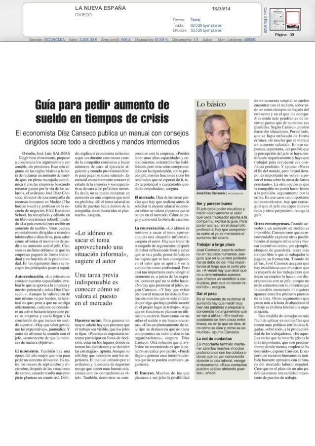 18/05/14LA NUEVA ESPAÑA OVIEDO Prensa: Diaria Tirada: 62.028 Ejemplares Difusión: 53.526 Ejemplares Página: 39 Sección: EC...