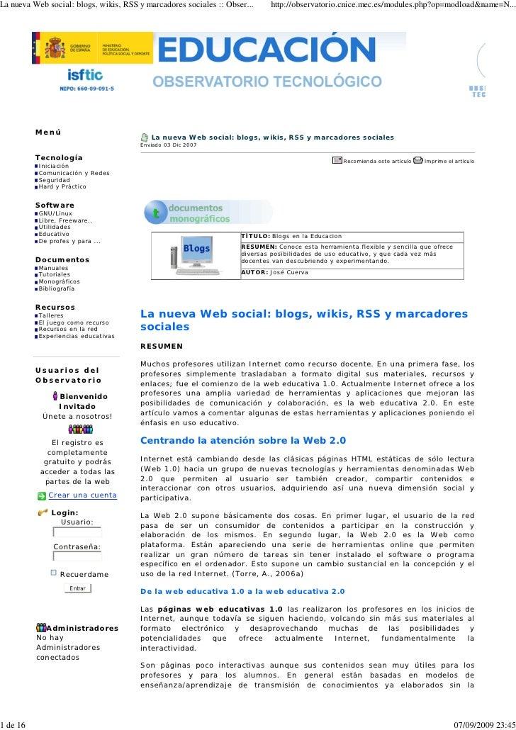 La Nueva Web Social   Blogs, Wikis, Marcadores Sociales