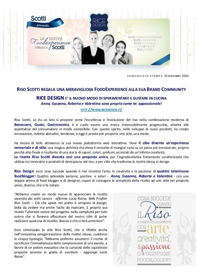 2013 -11 - La nuova food experience firmata Riso Scotti