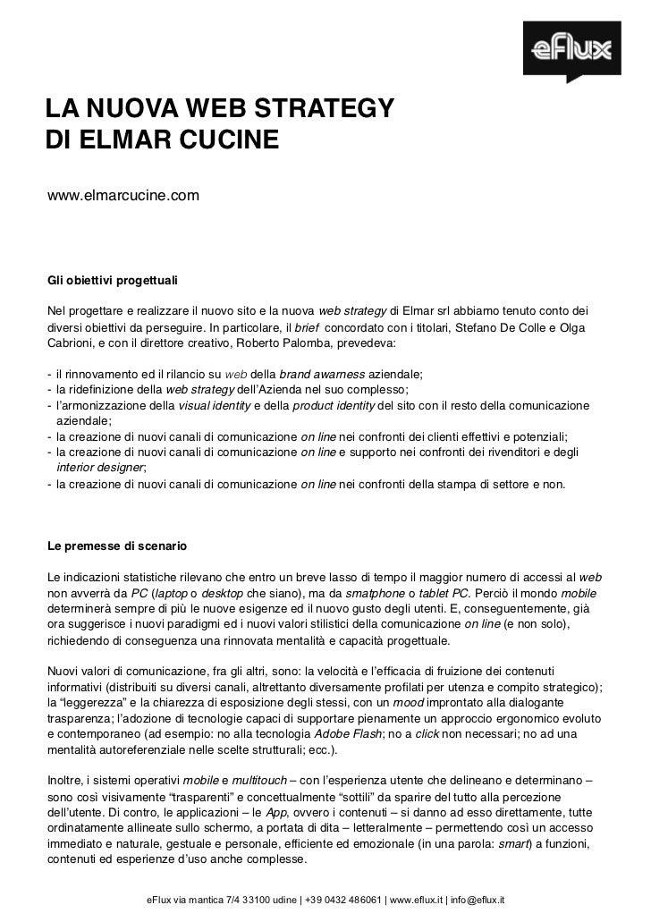 LA NUOVA WEB STRATEGYDI ELMAR CUCINEwww.elmarcucine.comcommunity.elmarcucine.comGli obiettivi progettualiNel progettare e ...