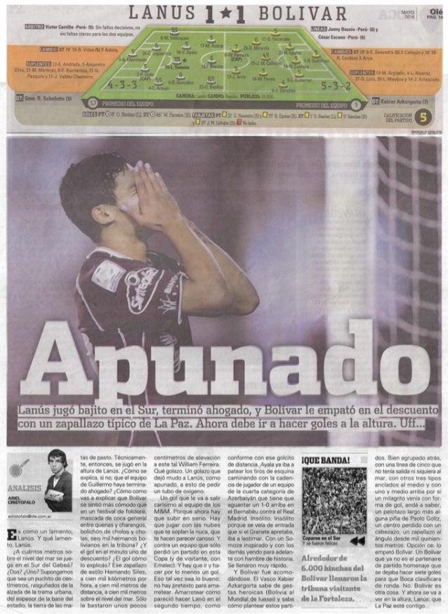Publicación del diario Olé de Argentina  por el resultado de Lanus frente a Bolívar