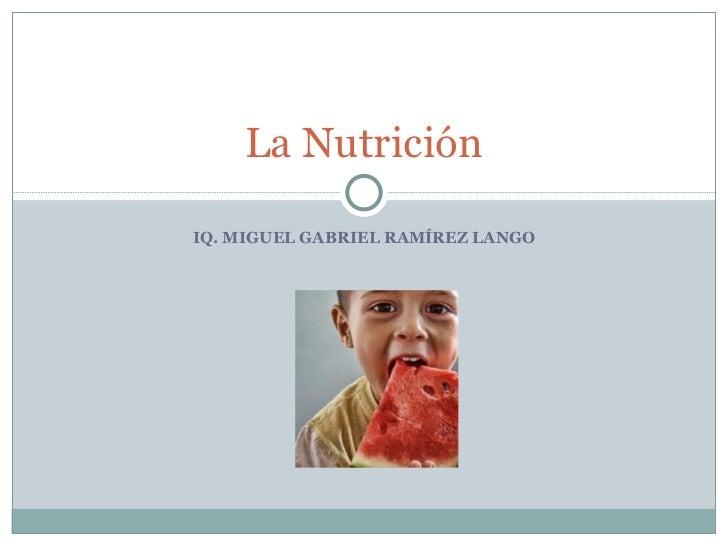 IQ. MIGUEL GABRIEL RAMÍREZ LANGO La Nutrición