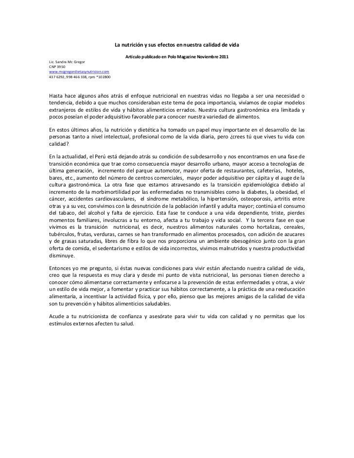 La nutrición y sus efectos en nuestra calidad de vida                                         Artículo publicado en Polo M...