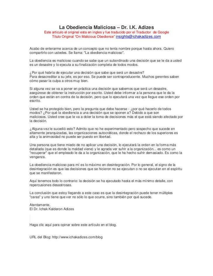 La Obediencia Maliciosa – Dr. I.K. Adizes         Este articulo el original esta en ingles y fue traducido por el Traducto...