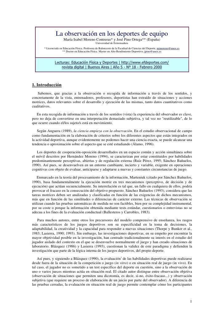 La observación en los deportes de equipo                         María Isabel Moreno Contreras* y José Pino Ortega** (Espa...