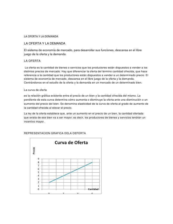 LA OFERTA Y LA DEMANDALA OFERTA Y LA DEMANDAEl sistema de economía de mercado, para desarrollar sus funciones, descansa en...