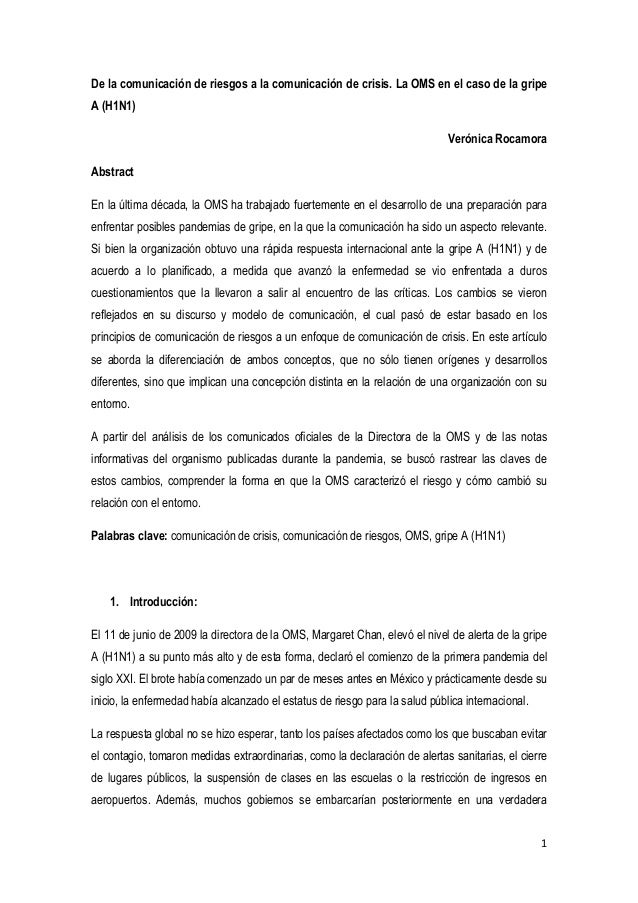 1De la comunicación de riesgos a la comunicación de crisis. La OMS en el caso de la gripeA (H1N1)Verónica RocamoraAbstract...
