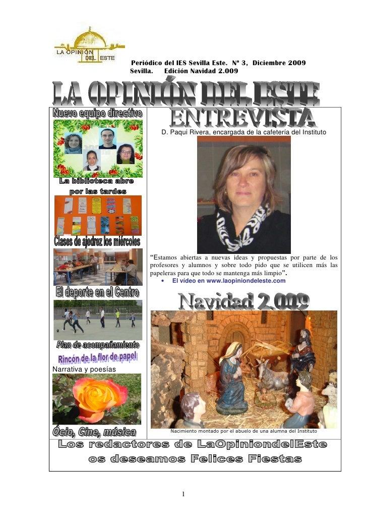 Periódico del IES Sevilla Este. Nº 3, Diciembre 2009                       Sevilla.  Edición Navidad 2.009                ...