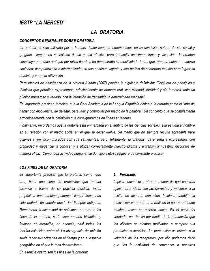 """IESTP """"LA MERCED""""                                                  LA ORATORIACONCEPTOS GENERALES SOBRE ORATORIALa oratori..."""
