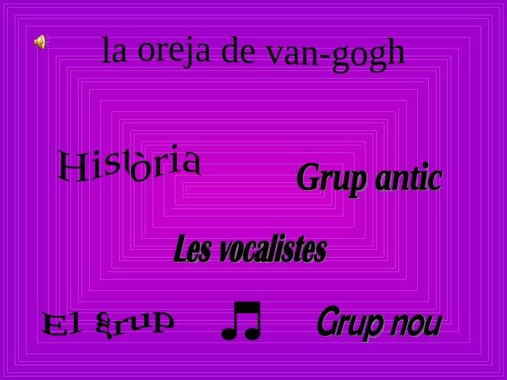 la oreja de van-gogh Història El grup Les vocalistes Grup nou Grup antic