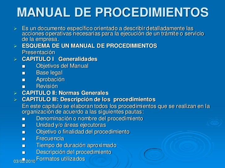 La organizacion en las empresas for Manual de procedimientos de una empresa de alimentos