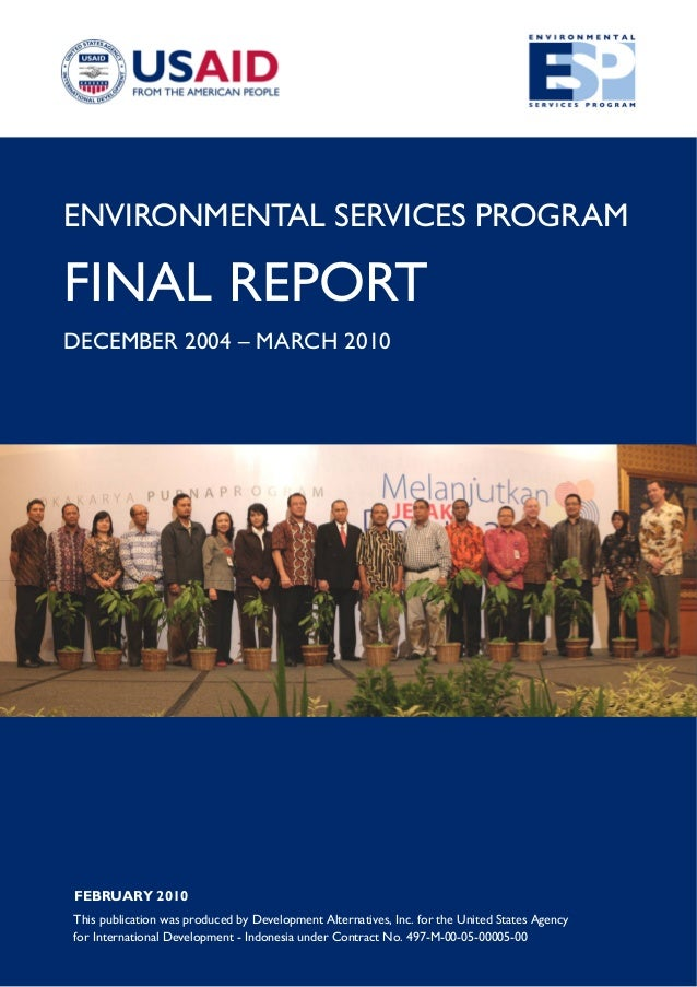 Environmental Services Program. Final Report