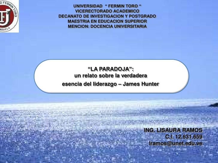 """UNIVERSIDAD """" FERMIN TORO """"      VICERECTORADO ACADEMICODECANATO DE INVESTIGACION Y POSTGRADO   MAESTRIA EN EDUCACION SUPE..."""