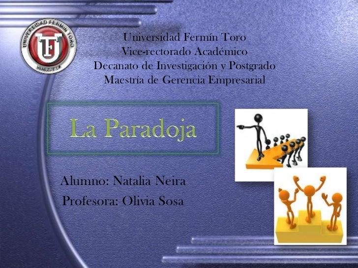 Universidad Fermín Toro          Vice-rectorado Académico     Decanato de Investigación y Postgrado      Maestría de Geren...