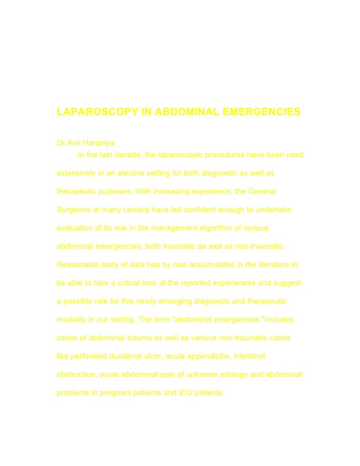 Laparoscopy In Abdominal Emergencies