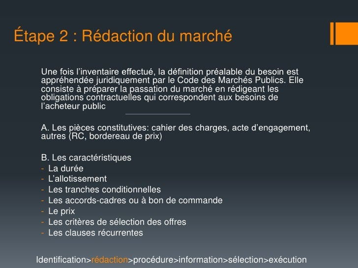 La passation d 39 un march public - Definition cahier des charges ...