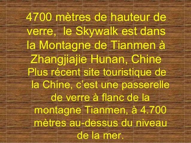 4700 mètres de hauteur deverre, le Skywalk est dansla Montagne de Tianmen à Zhangjiajie Hunan, ChinePlus récent site touri...