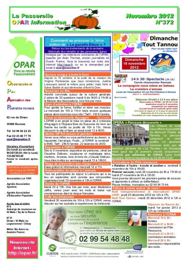 La Passerelle                                                                              Novembre 2012    OPAR Informati...