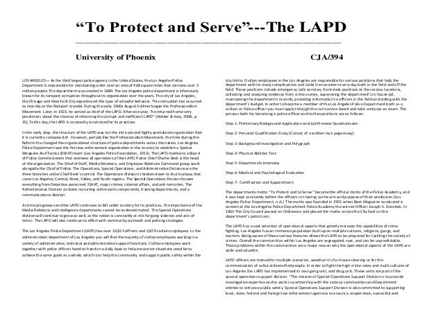 I need a brief description of lapds selection process and written exam.?