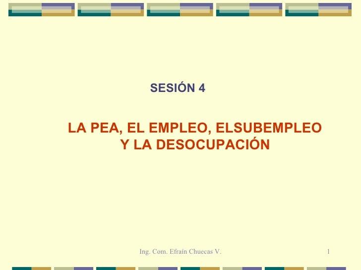 SESIÓN 4 LA PEA, EL EMPLEO, ELSUBEMPLEO  Y LA DESOCUPACIÓN