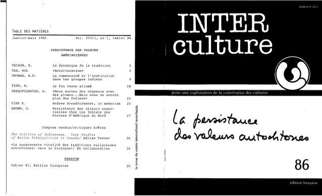 86-La persistance des valeurs autochtones. Sol Tax, R. K. Thomas, K. Fink, A. Dreadfulwater, J. Brown. (document à télécha...