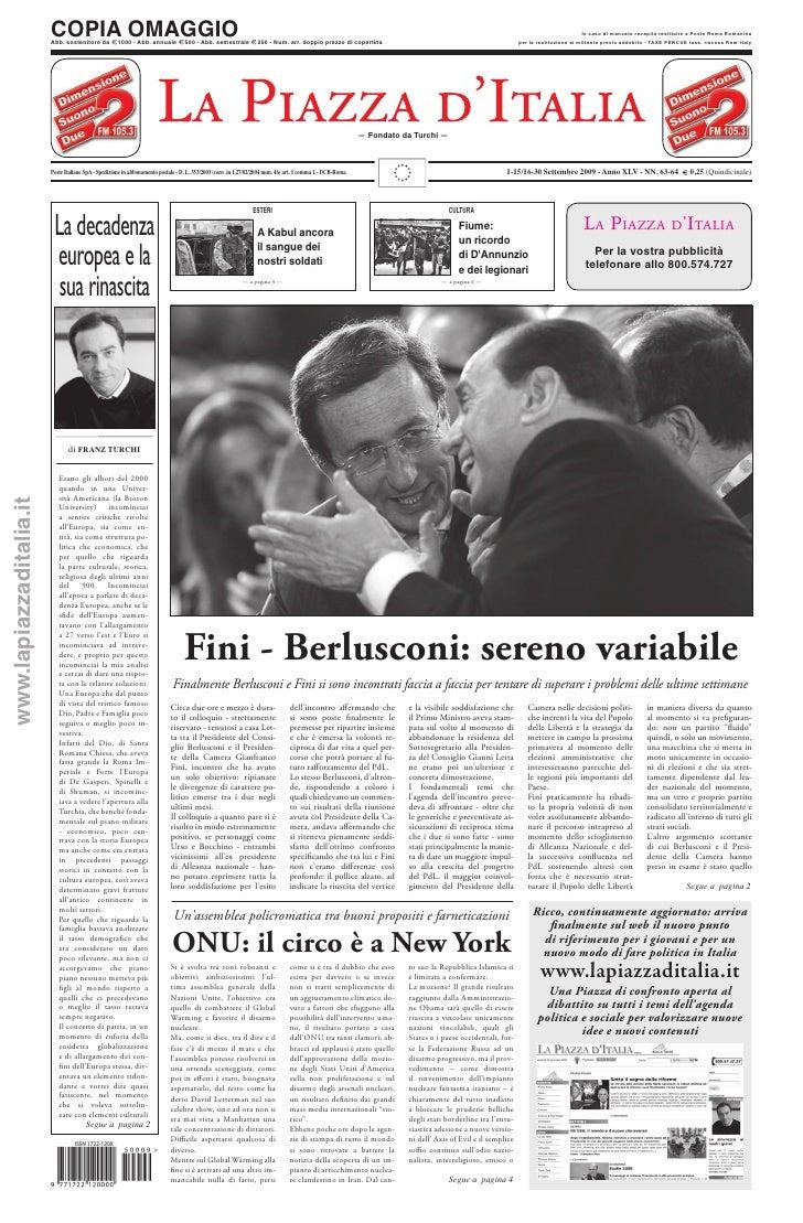 1-15/16-30 settembre 2009 - Anno XLV - NN. 63 - 64 - Fini - Berlusconi: sereno variabile