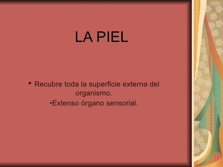 LA PIEL <ul><li>Recubre toda la superficie externa del organismo. </li></ul><ul><li>Extenso órgano sensorial. </li></ul>