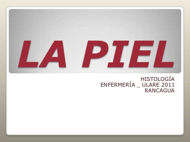 LA PIEL        HISTOLOGÍA   ENFERMERÍA _ ULARE 2011                 RANCAGUA