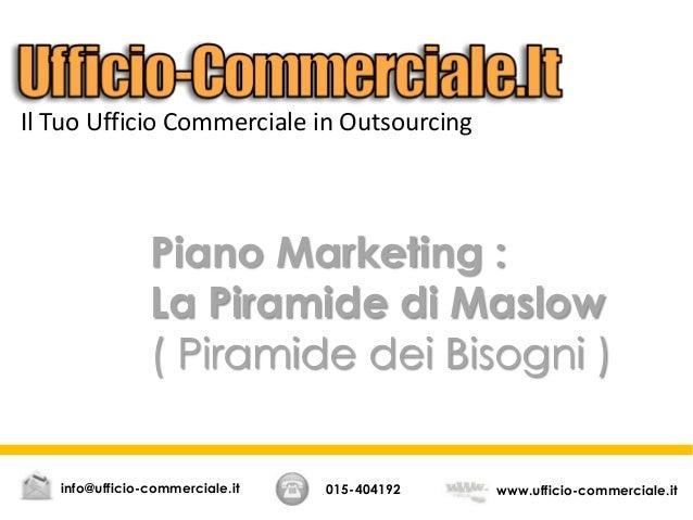 Piano Marketing : La Piramide di Maslow ( Piramide dei Bisogni ) Il Tuo Ufficio Commerciale in Outsourcing 015-404192 www....