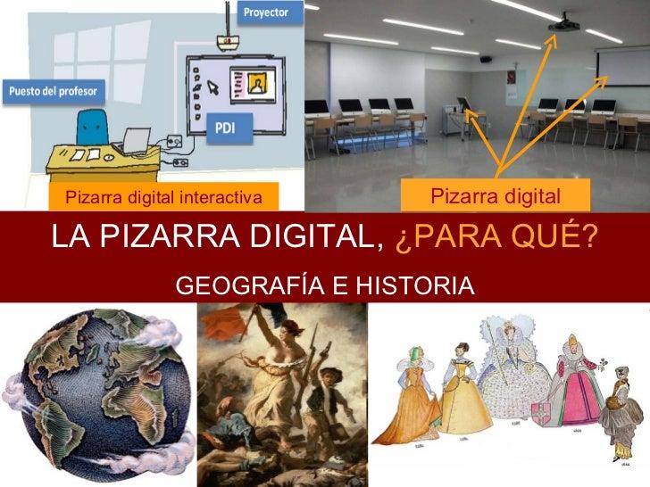 LA PIZARRA DIGITAL,  ¿PARA QUÉ? GEOGRAFÍA E HISTORIA Pizarra digital Pizarra digital interactiva Pizarra digital