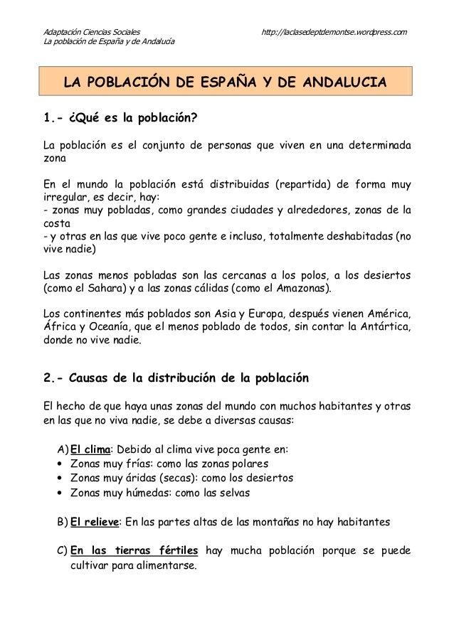 Adaptación Ciencias Sociales http://laclasedeptdemontse.wordpress.com La población de España y de Andalucía LA POBLACIÓN D...