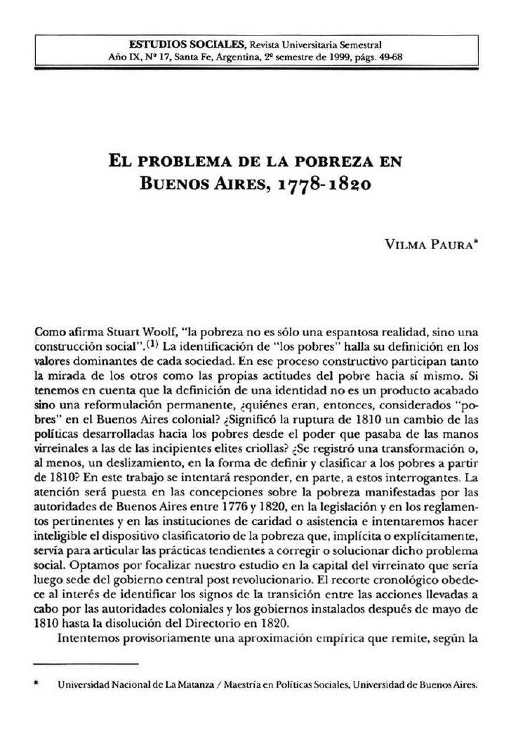 La pobreza Bs As 1778-1820