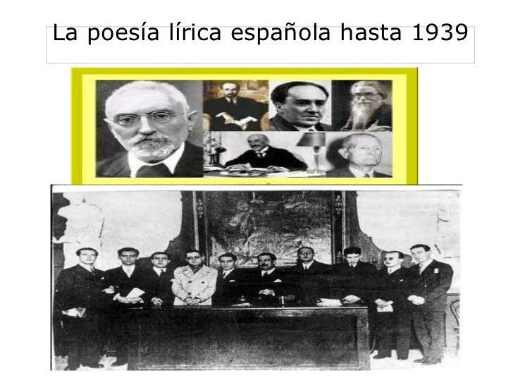 La poesía lírica española hasta 1939