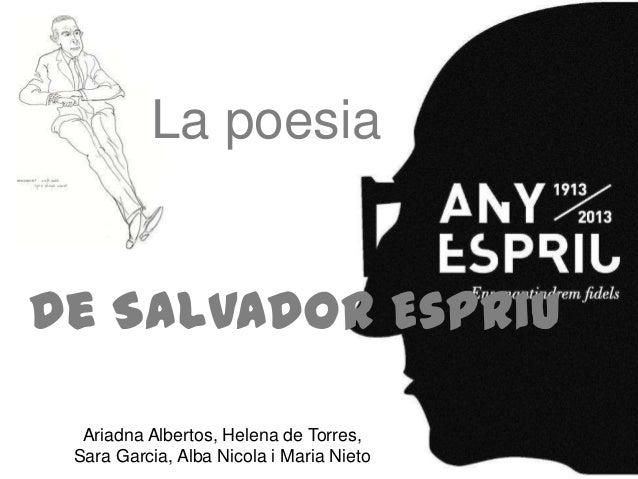 La poesiade Salvador Espriu  Ariadna Albertos, Helena de Torres, Sara Garcia, Alba Nicola i Maria Nieto