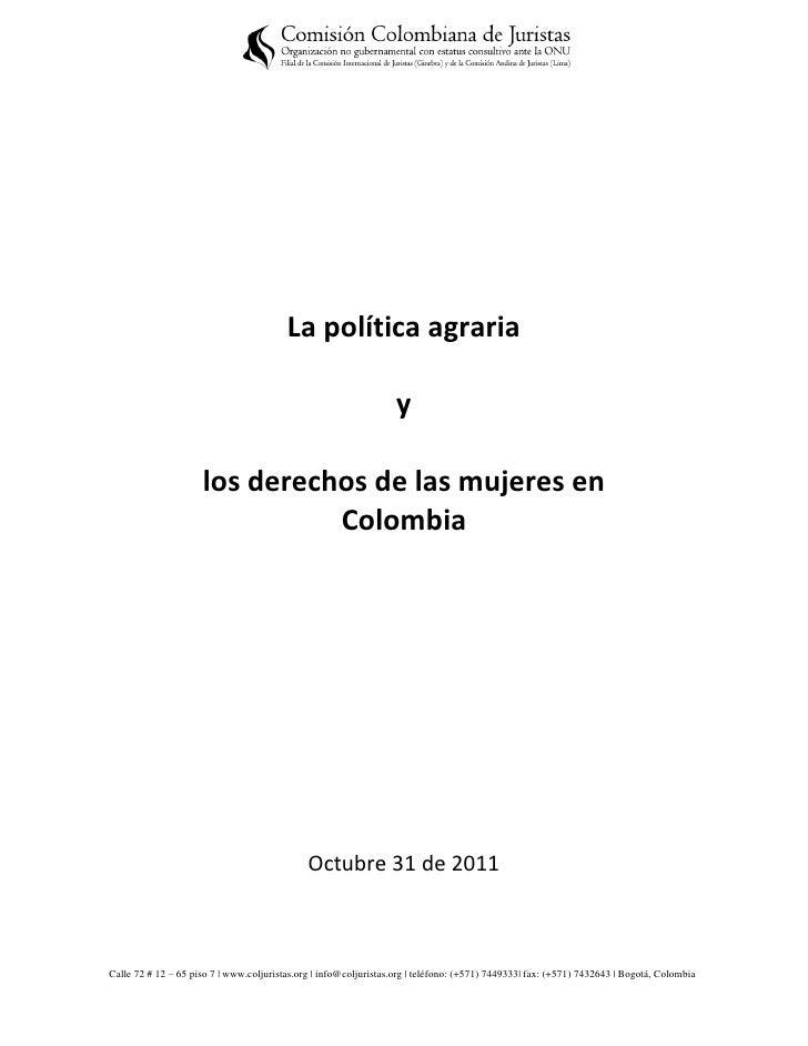 La politica agraria y los derechos de las mujeres en Colombia