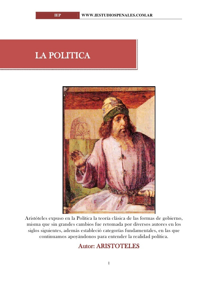 La Política Aristoteles www.iestudiospenales.com.ar