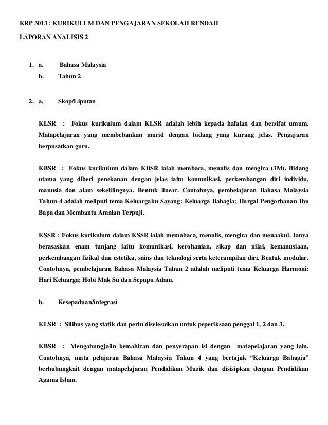 KRP 3013 : KURIKULUM DAN PENGAJARAN SEKOLAH RENDAHLAPORAN ANALISIS 2  1. a.     Bahasa Malaysia     b.     Tahun 2  2. a. ...