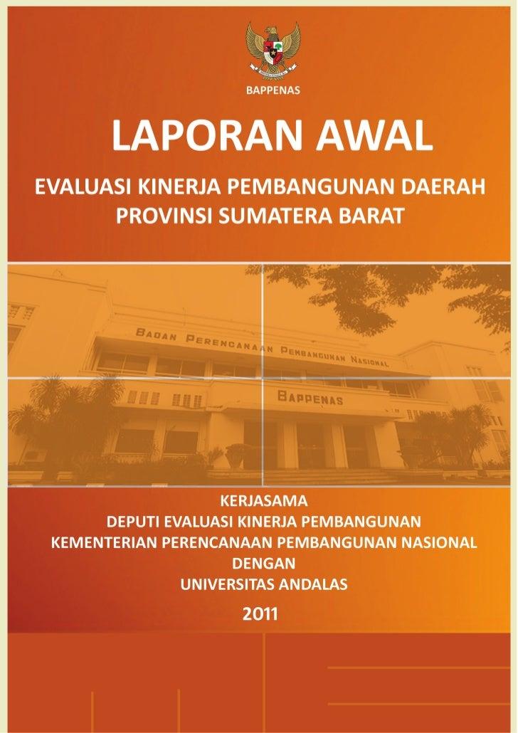 Laporan Awal EKPD 2011 Provinsi Sumatera Barat