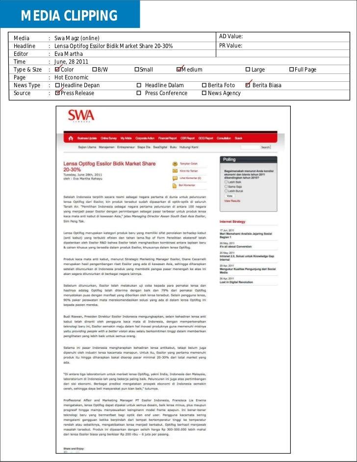Laporan harian berita Lensa optifog 01 juli 2011