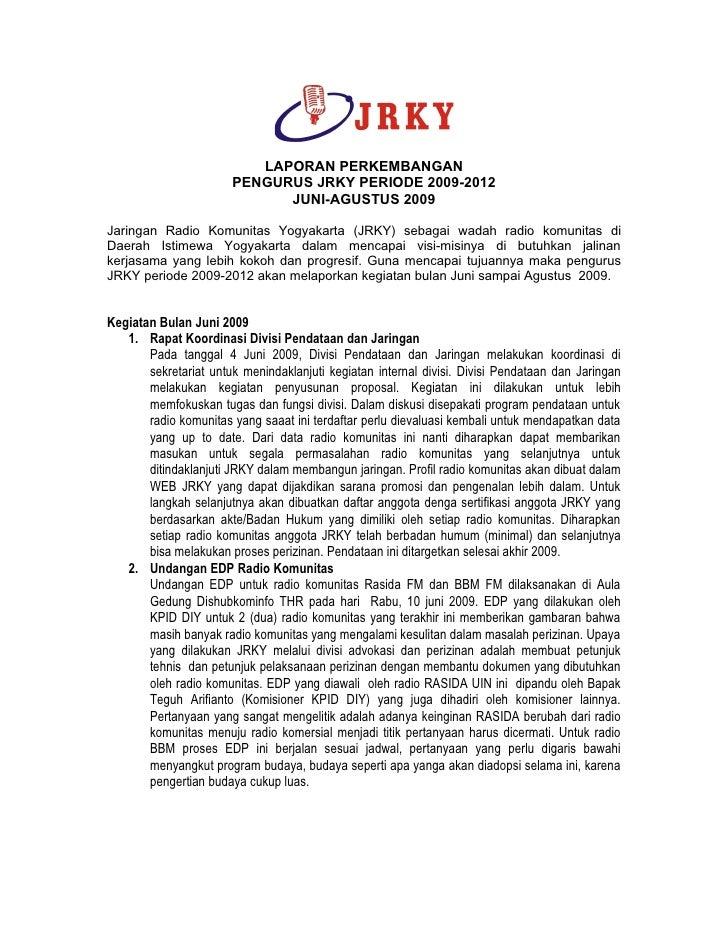 Laporan kegiatan jrky triwulan II